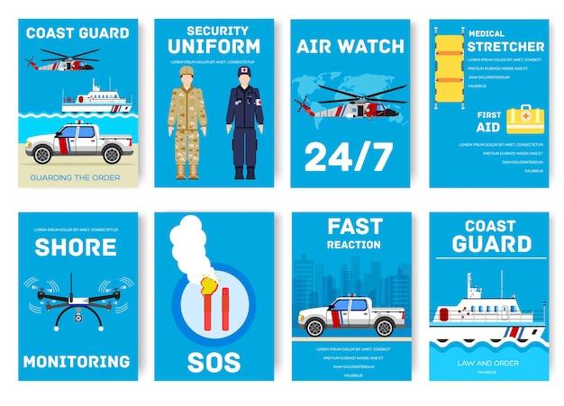 Karty dzień straży przybrzeżnej zestaw ilustracji