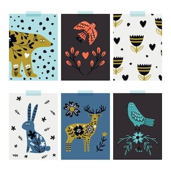 Karty dzikich zwierząt. skandynawskie postacie, natura kwiaty ozdobne banery wektor zestaw