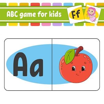 Karty flash abc. alfabet dla dzieci. nauka liter. arkusz rozwijający edukację.