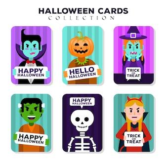 Karty halloween z zabawnymi strojami