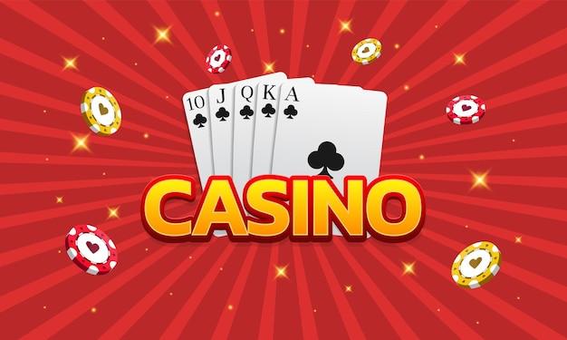 Karty i żetony do gry w pokera w kasynie mogą być używane jako baner ulotki do reklamy
