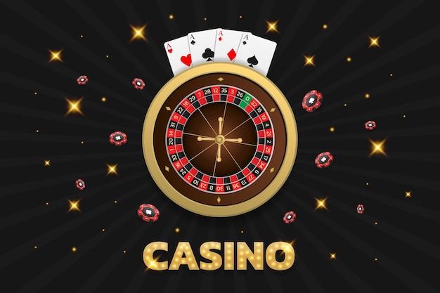 Karty i żetony do ruletki w kasynie mogą być używane jako baner ulotki lub reklama