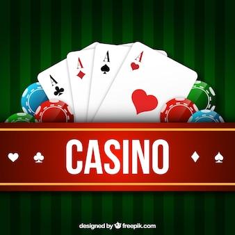 Karty i żetony w tle kasyna