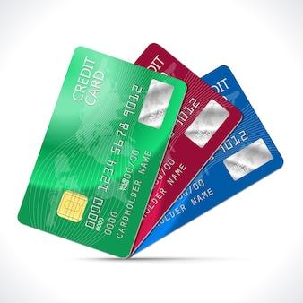 Karty kredytowe na białym tle