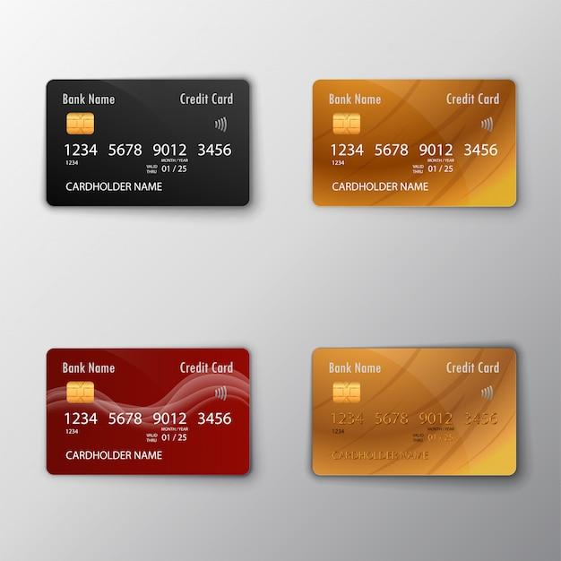 Karty kredytowe zestaw ilustracji