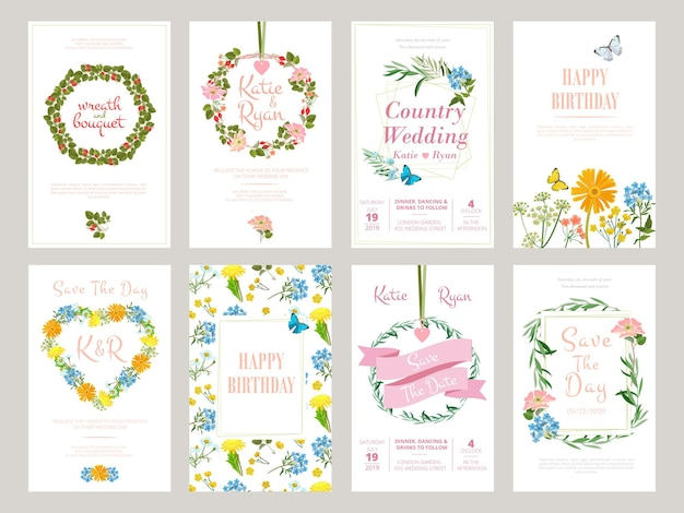 Karty kwiatowe. ilustracja botaniczna do szablonu liści dzikich kwiatów afisz zaproszenie.