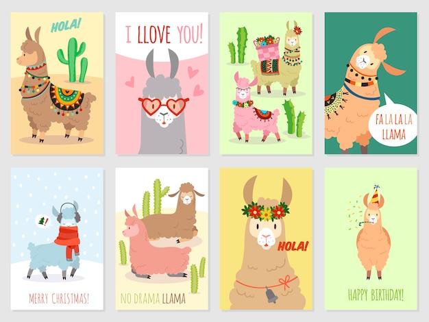 Karty lamy. lamy dziecięce śliczne alpaki i kaktusy dzikie lamy. wielbłąd peru, pocztówka
