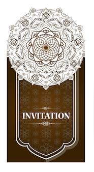 Karty lub zaproszenia z wzorem mandali. vintage ręcznie rysowane bardzo szczegółowe elementy okrągłej mandali. luksusowa koronkowa świąteczna karta ornament. motywy islamu, arabskiego, indyjskiego, tureckiego, osmańskiego, pakistańskiego.