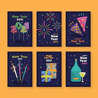 Karty noworoczne 2021 w płaskiej konstrukcji