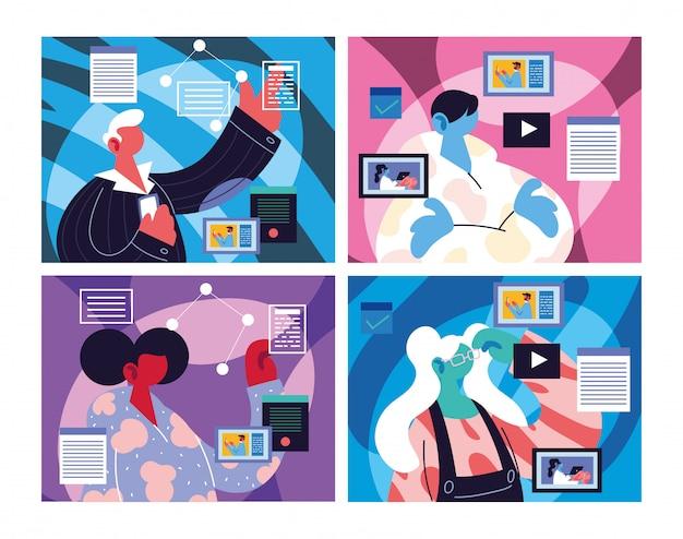 Karty osób z ikonami mediów społecznościowych
