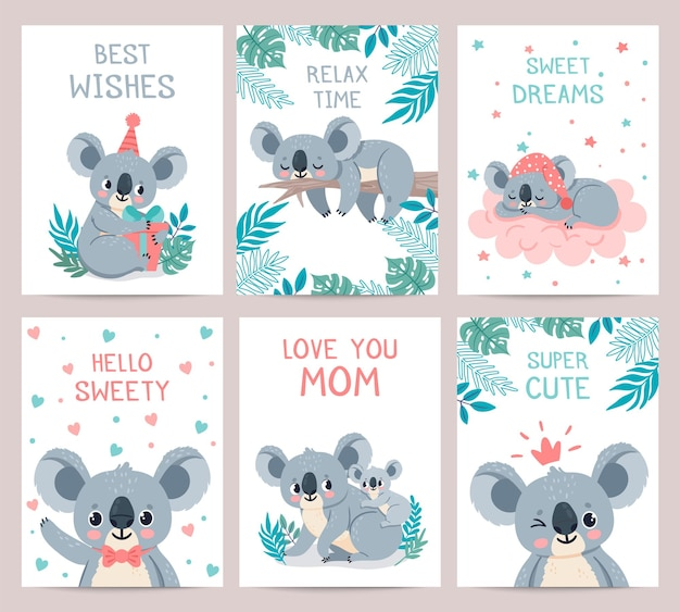 Karty plakatów koala. nadruki z uroczymi śpiącymi koalami. australijski niedźwiedź przytula matkę. zaproszenie na przyjęcie z dżungli zwierząt, wektor zestaw. ilustracja karta zaproszenie na przyjęcie, leniwy koala egzotyczne zwierzę