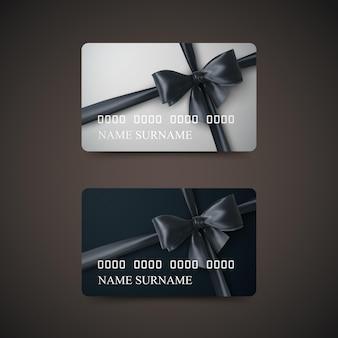 Karty podarunkowe z czarną kokardką i wstążką