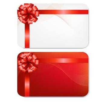 Karty podarunkowe z czerwonymi kokardkami z gradientową siatką, na białym tle,