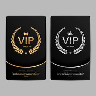 Karty premium członków vip. zestaw szablonów czarny i złoty.
