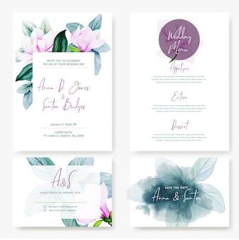 Karty ślubne, cztery wzory z magnolią