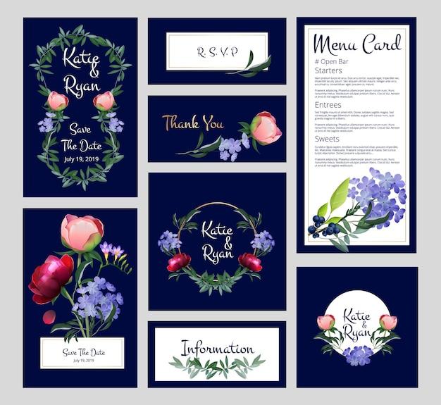Karty ślubne. zaproszenie, szablon banery menu ze złotymi ramkami, kwiatami i roślinami.