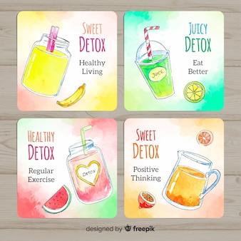 Karty soków owocowych z detoksem akwarela