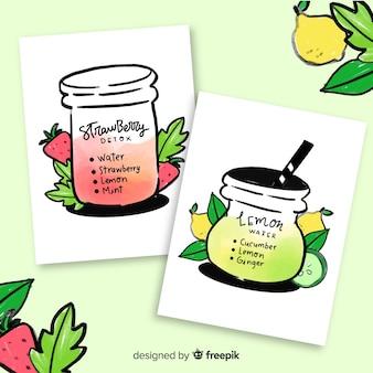 Karty soków owocowych z detoksem akwarelowym