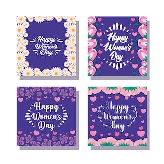 Karty szczęśliwy kobieta dzień z kwiatami