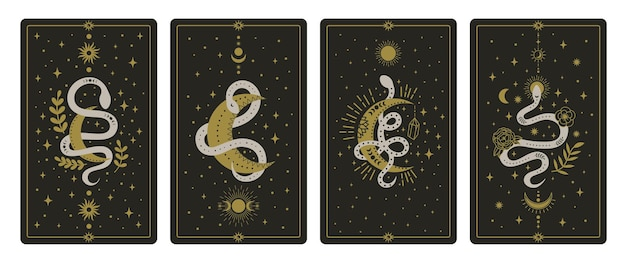 Karty tarota magiczne węże. okultystyczne ręcznie rysowane karty tarota, zestaw kart mądrości ezoterycznych węży duchowych