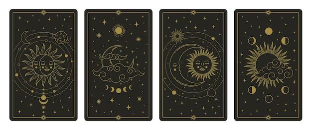 Karty tarota z księżycem i słońcem. mistyczne ręcznie rysowane karty ciał niebieskich, zestaw magicznych kart tarota