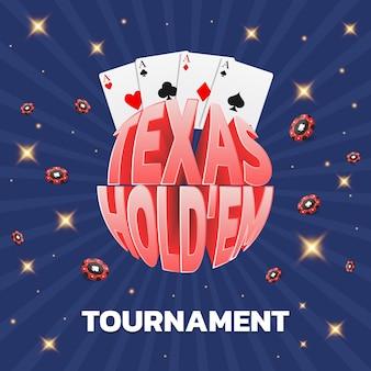 Karty turniejowe texas holdem i czerwone żetony mogą być używane jako baner ulotki na plakat