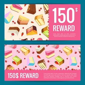 Karty upominkowe, rabaty lub szablony kuponów z kawałkami ciasta, wiśniami i truskawkami. kupon karty ciasto, banner oferta prezent dla kawiarni