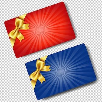 Karty upominkowe z złote kokardki ilustracja na białym tle