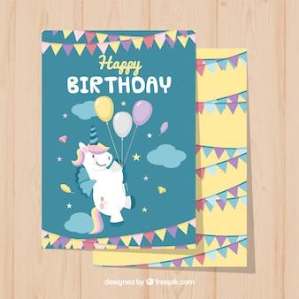 Karty urodzinowe jednorożec