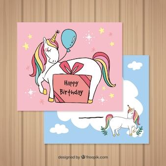 Karty urodzinowe z ręcznie rysowane jednorożce
