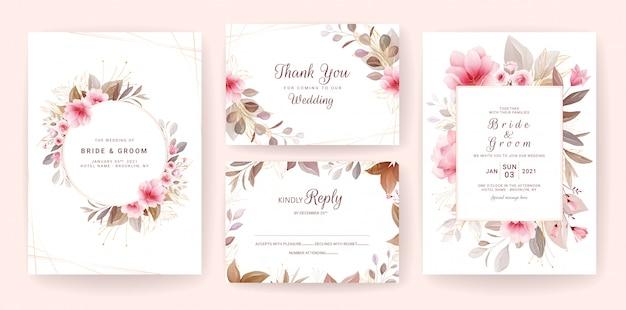 Karty w tle kwiatów. szablon zaproszenia ślubne z brązowymi kwiatami i złotymi liśćmi