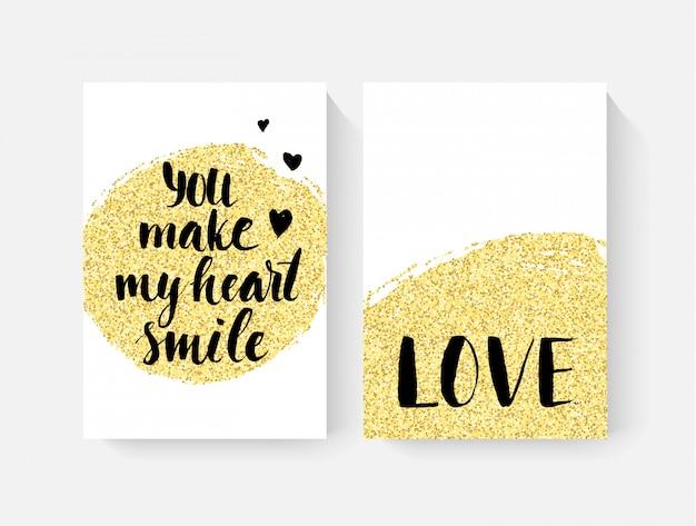 Karty walentynkowe z ręcznie wypisanymi literami i złotym brokatem