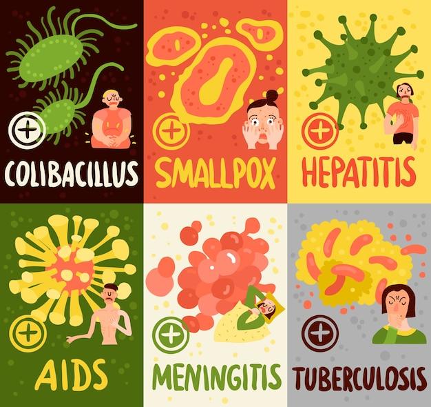 Karty wirusów ludzkich z symbolami zapalenia opon mózgowych i ospy na białym tle