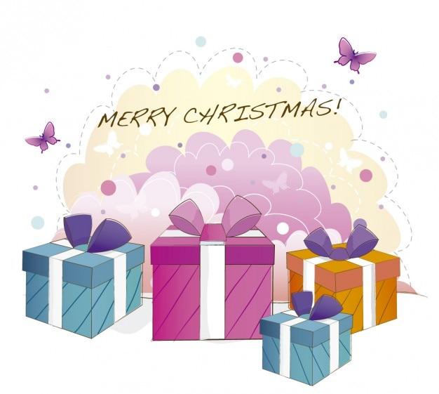 Karty z christmas pojemniki na prezent