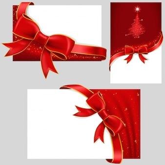 Karty z czerwonymi kokardkami