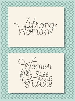 Karty z feministyczną wiadomością ręcznie robioną czcionką