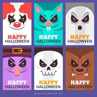 Karty z halloween z creepy twarze