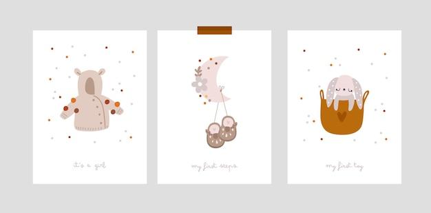 Karty z kamieniami milowymi dla niemowląt dla nowonarodzonej dziewczynki lub chłopca. nadruk na baby shower