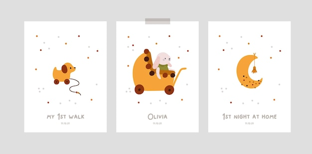 Karty z kamieniami milowymi dla niemowląt z księżycem i zabawkami dla nowonarodzonej dziewczynki lub chłopca