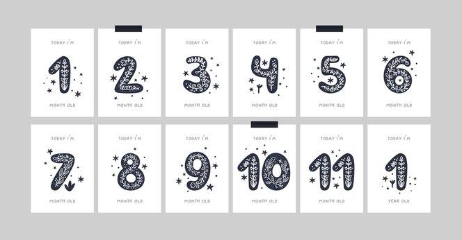 Karty z kamieniami milowymi dla niemowląt z kwiatami i numerami dla nowonarodzonej dziewczynki lub chłopca. baby shower print. męskie karty rocznicowe lub miesięczne