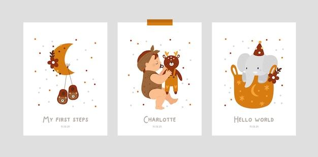 Karty z kamieniami milowymi dla niemowląt ze śpiącym dzieckiem i zabawkami dla nowonarodzonej dziewczynki lub chłopca
