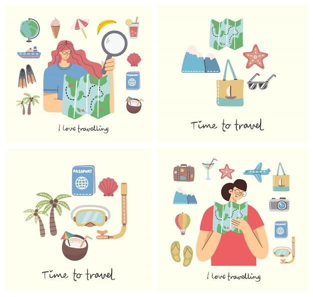Karty z kobietami z mapą oraz obiektami i ikonami związanymi z podróżami i wakacjami. ilustracja nowoczesny styl mieszkania