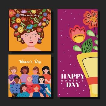 Karty z napisami na międzynarodowy dzień kobiet z ilustracjami dziewcząt i kwiatów