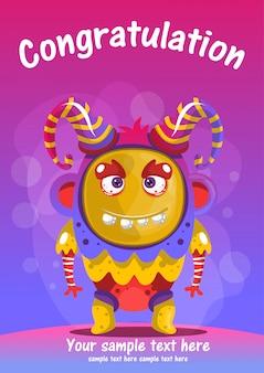 Karty z pozdrowieniami gratulacje ładny potwór