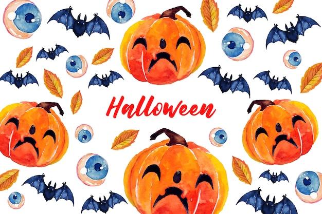 Karty z pozdrowieniami o tematyce halloween w stylu przypominającym akwarele