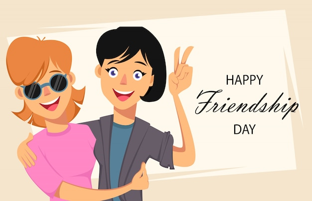 Karty Z Pozdrowieniami Szczęśliwy Dzień Przyjaźni Premium Wektorów