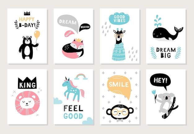 Karty z uroczymi, ręcznie rysowanymi zwierzętami