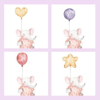 Karty ze słodkim słoniem z balonami, urocza dziecinna ilustracja akwareli