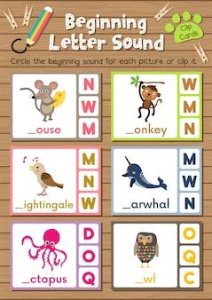 Karty ze zwierzętami dopasowujące grę z początkową literą dźwięku