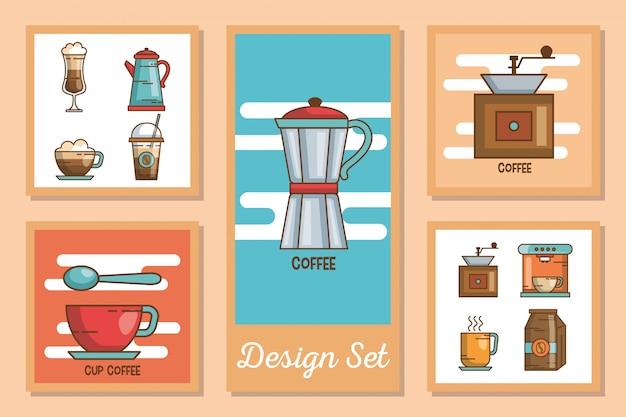 Karty zestaw ikon pić kawę